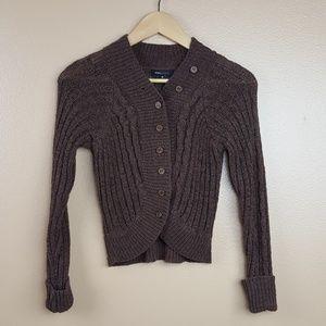 BCBGMaxAzria🌟Brown Knit Crop Cardigan Sweater